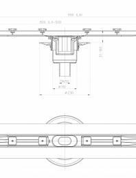 Desen tehnic: Rigola din inox pentru dus cu racord iesire vertical DN50, flansa 900 mm