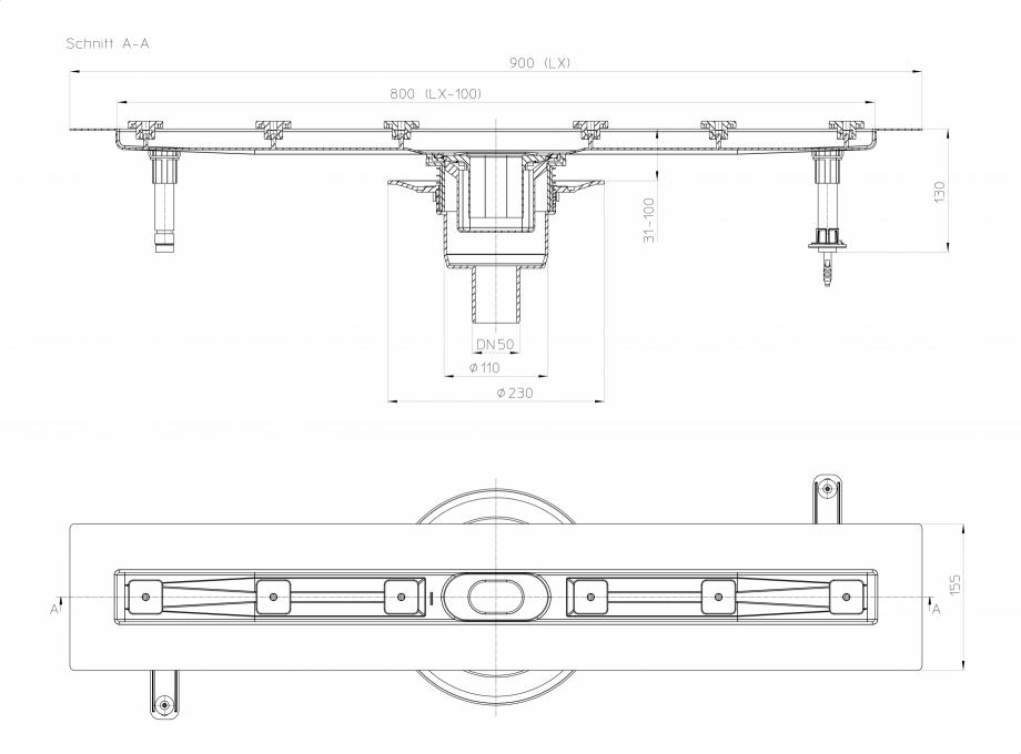 Pagina 1 - Desen tehnic: Rigola din inox pentru dus cu racord iesire vertical DN50, flansa 900 mm HL...