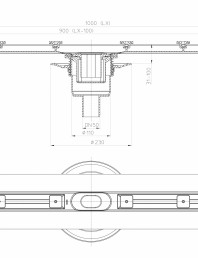 Desen tehnic: Rigola din inox pentru dus cu racord iesire vertical DN50, flansa 1000 mm