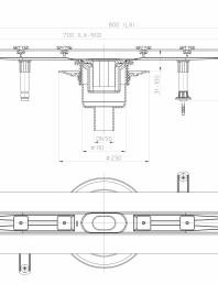 Desen tehnic: Rigola din inox pentru dus cu racord iesire vertical DN50, flansa 800 mm