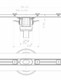 Desen tehnic: Rigola din inox pentru dus cu racord iesire vertical DN50, flansa 1100 mm
