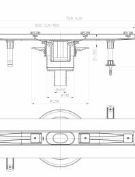 Desen tehnic: Rigola din inox pentru dus cu racord iesire vertical DN50, flansa 700 mm