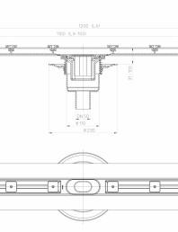 Desen tehnic: Rigola din inox pentru dus cu racord iesire vertical DN50, flansa 1200 mm