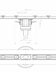 Desen tehnic: Rigola din inox pentru dus cu racord iesire vertical DN50, flansa 1300 mm