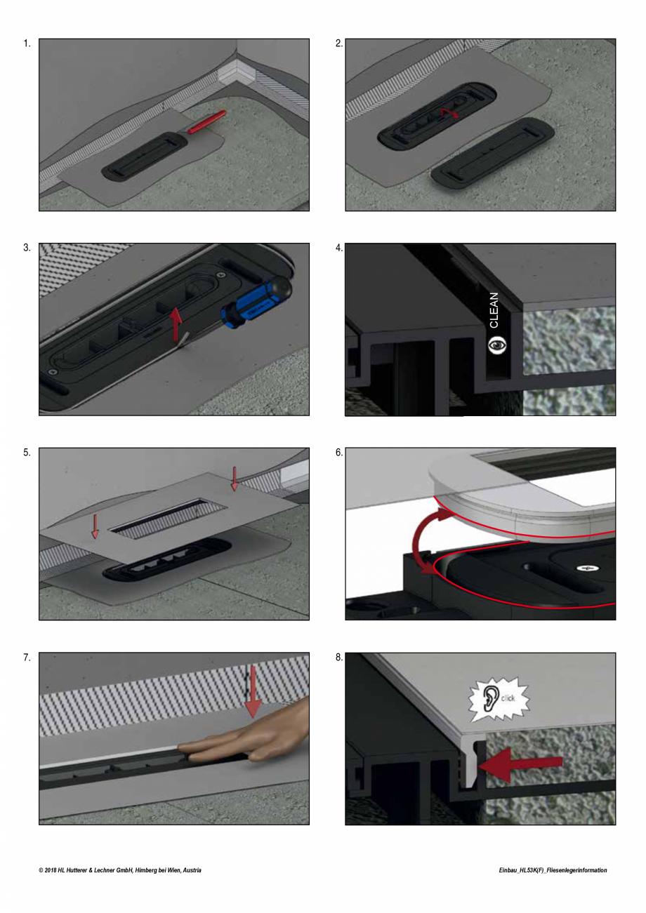 Pagina 2 - Ghid montaj rigola de dus HL Hutterer & Lechner HL53K, HL53KF Instructiuni montaj,...