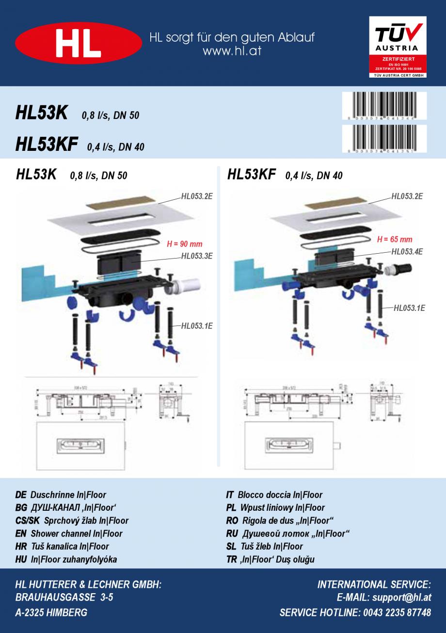 Pagina 1 - Ghid de instalare pentru rigolele de dus HL Hutterer & Lechner HL53K, HL53KF...