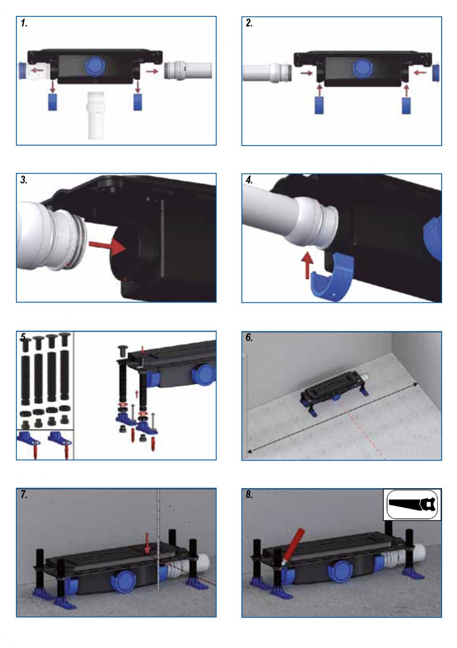 Pagina 2 - Ghid de instalare pentru rigolele de dus HL Hutterer & Lechner HL53K, HL53KF...