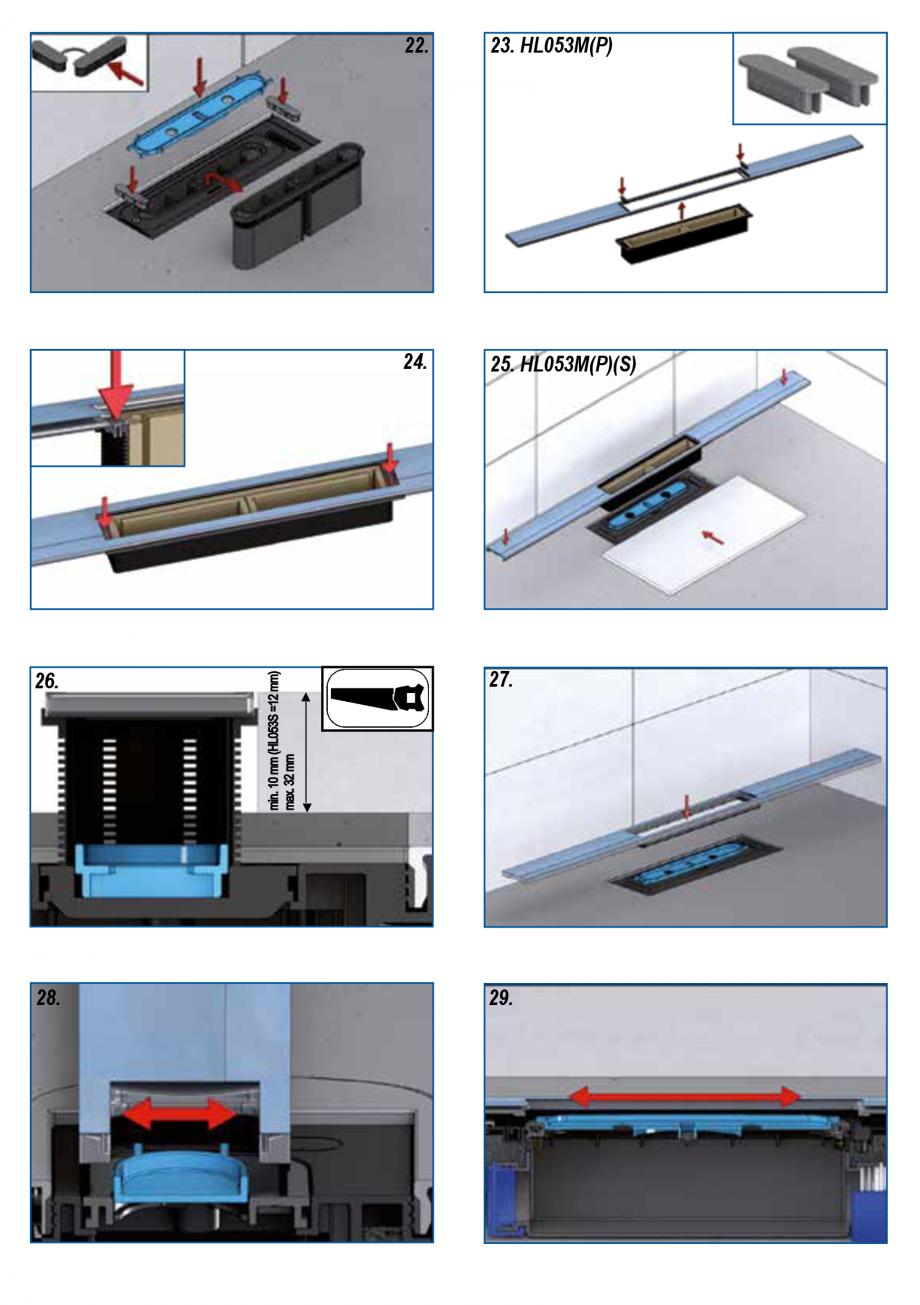 Pagina 5 - Ghid de instalare pentru rigolele de dus HL Hutterer & Lechner HL53K, HL53KF...