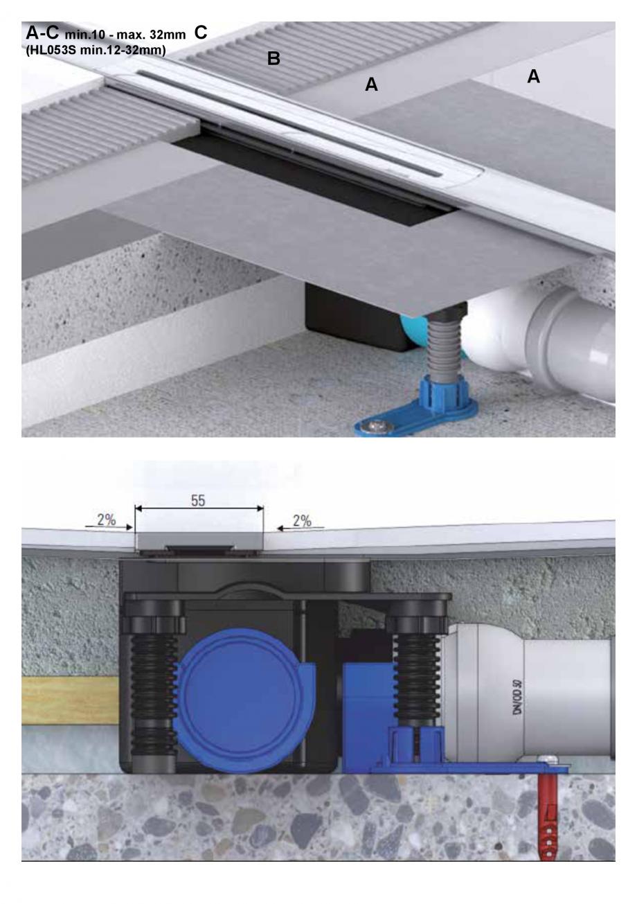 Pagina 7 - Ghid de instalare pentru rigolele de dus HL Hutterer & Lechner HL53K, HL53KF...