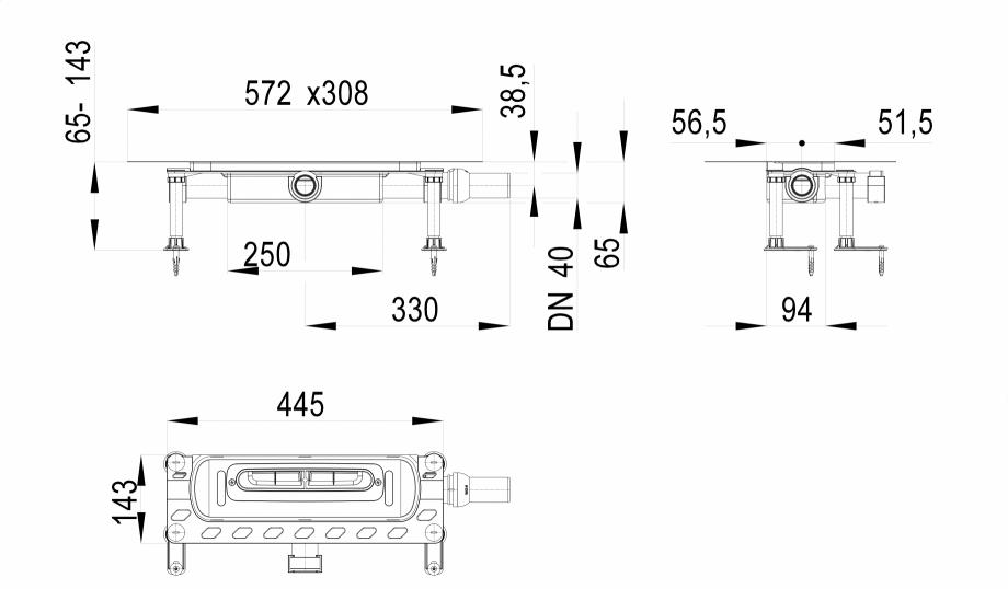 Pagina 1 - Desen tehnic: Corp rigola dus InFloor, DN40 HL Hutterer & Lechner HL53KF Fisa tehnica...