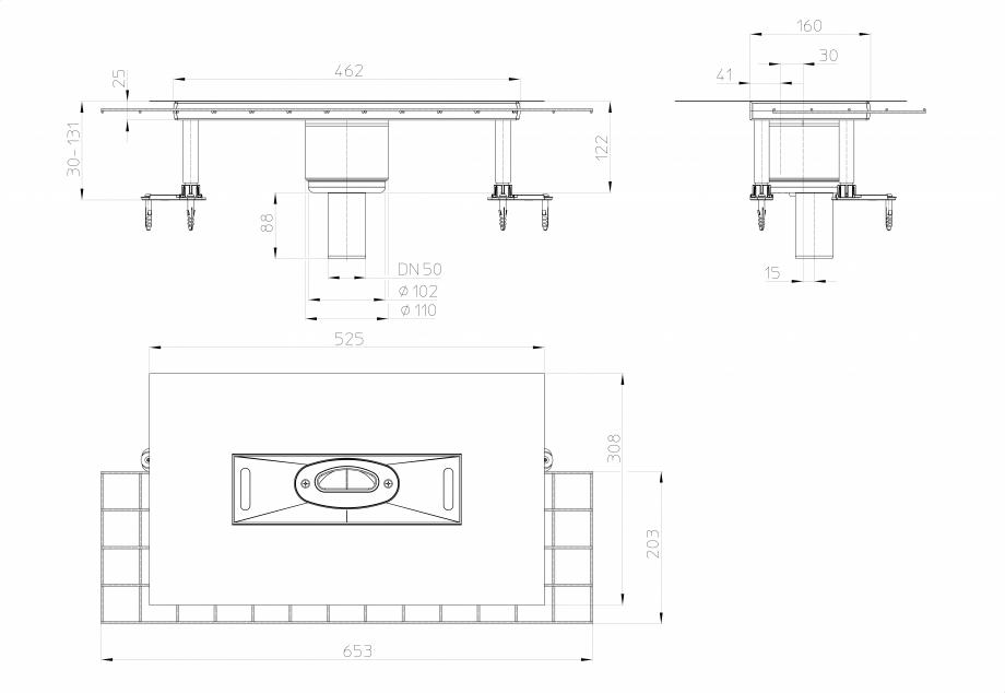 Pagina 1 - Desen tehnic: Corp rigola dus InFloor CeraDrain, DN50 HL Hutterer & Lechner HL53KVC...