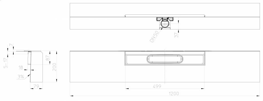 """Pagina 1 - Desen tehnic: Rigola de dus """"PRIMUS LINE"""" inglobata in bloc din EPS, cu rama..."""