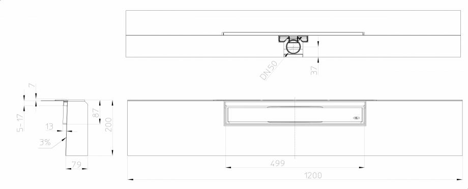 """Pagina 1 - Desen tehnic: Rigola de dus """"PRIMUS LINE"""" inglobata in bloc din EPS, cu rama si..."""