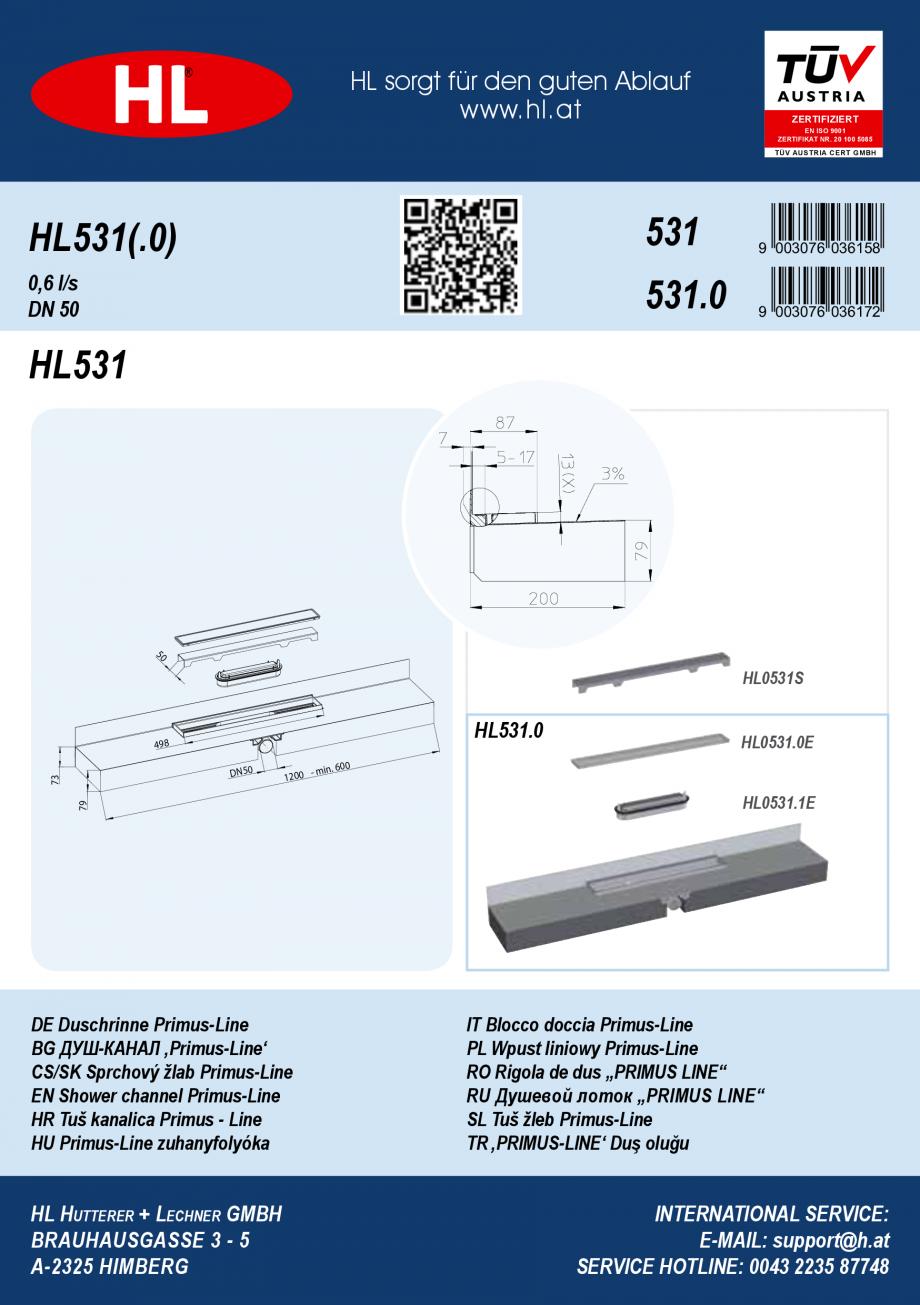 Pagina 1 - Ghid de instalare pentru rigolele de dus HL Hutterer & Lechner HL531, HL531.0...