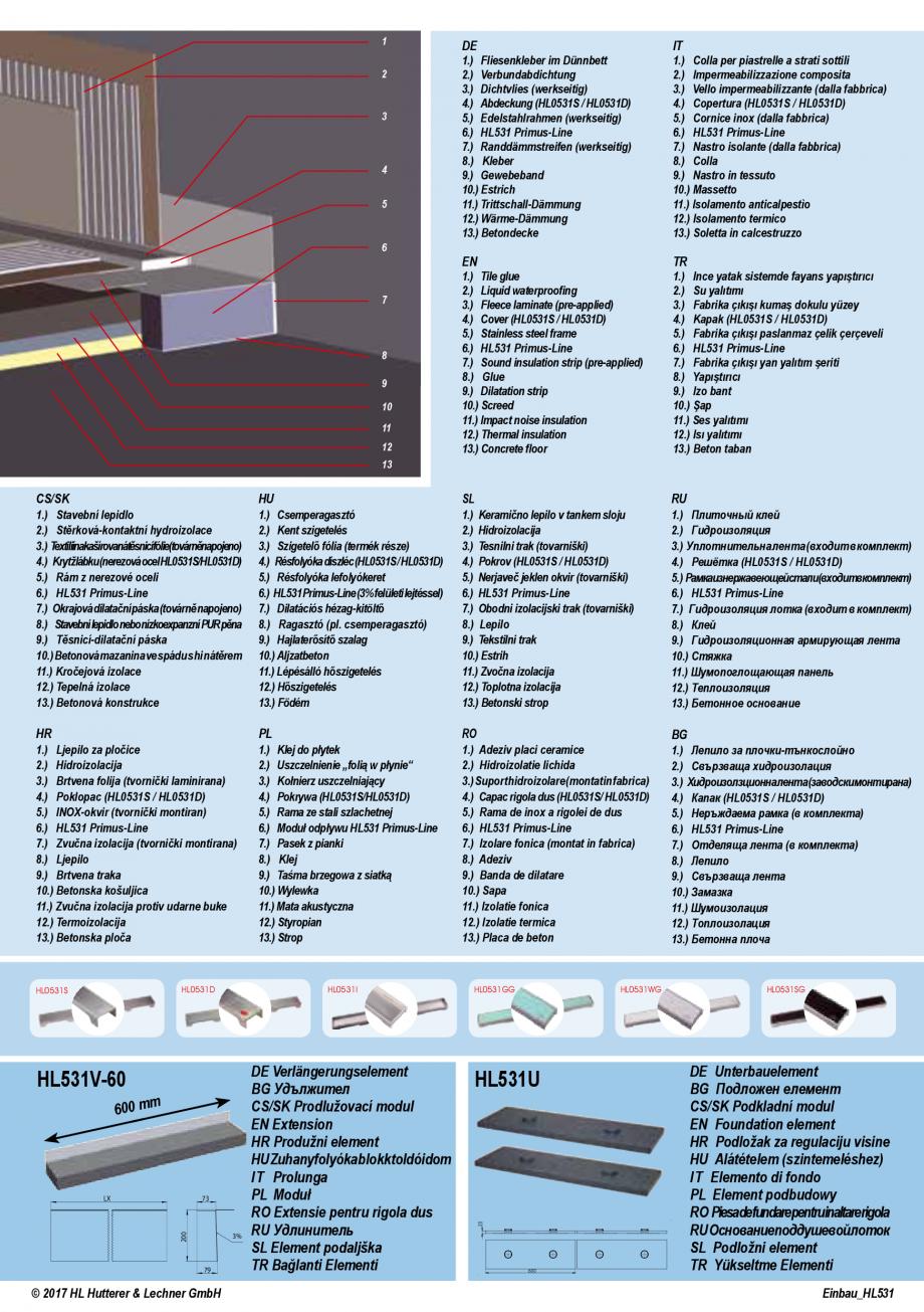 Pagina 4 - Ghid de instalare pentru rigolele de dus HL Hutterer & Lechner HL531, HL531.0...