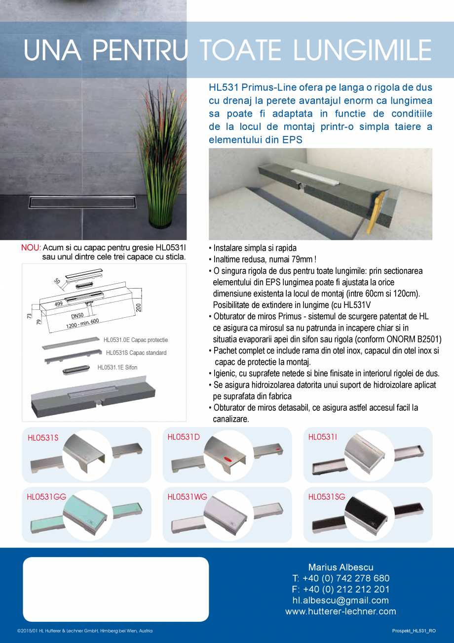 "Pagina 2 - Rigola de dus ""PRIMUS LINE"" HL Hutterer & Lechner HL531 Catalog, brosura ..."