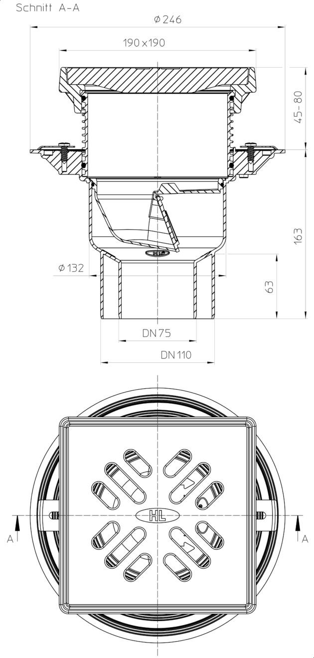 Schiță dimensiuni Receptor pentru parcare - HL3100TG