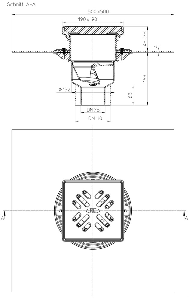 Schiță dimensiuni Receptor pentru parcare - HL3100THG