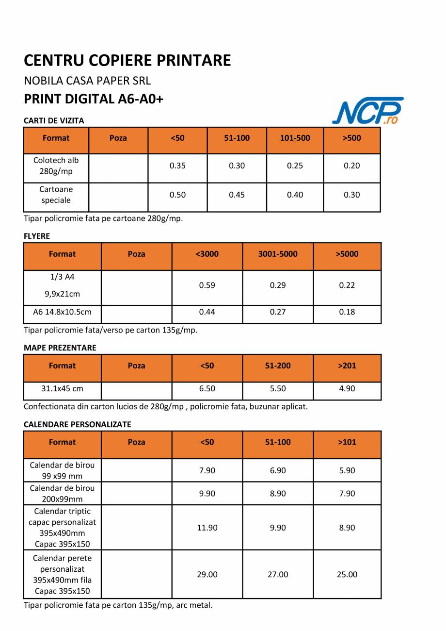 Pagina 3 - Oferta produse si servicii - lista preturi  pentru printare, multiplicare, scanare NOBILA...