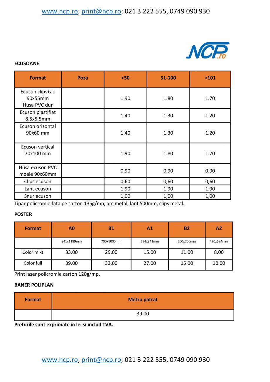 Pagina 4 - Oferta produse si servicii - lista preturi  pentru printare, multiplicare, scanare NOBILA...