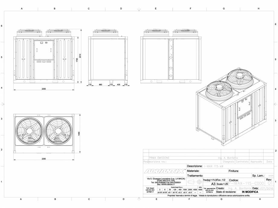 Pagina 1 - CAD-DWG Dimensiuni chiller i-MAX 115 kW MAXA Detaliu de produs i-MAX