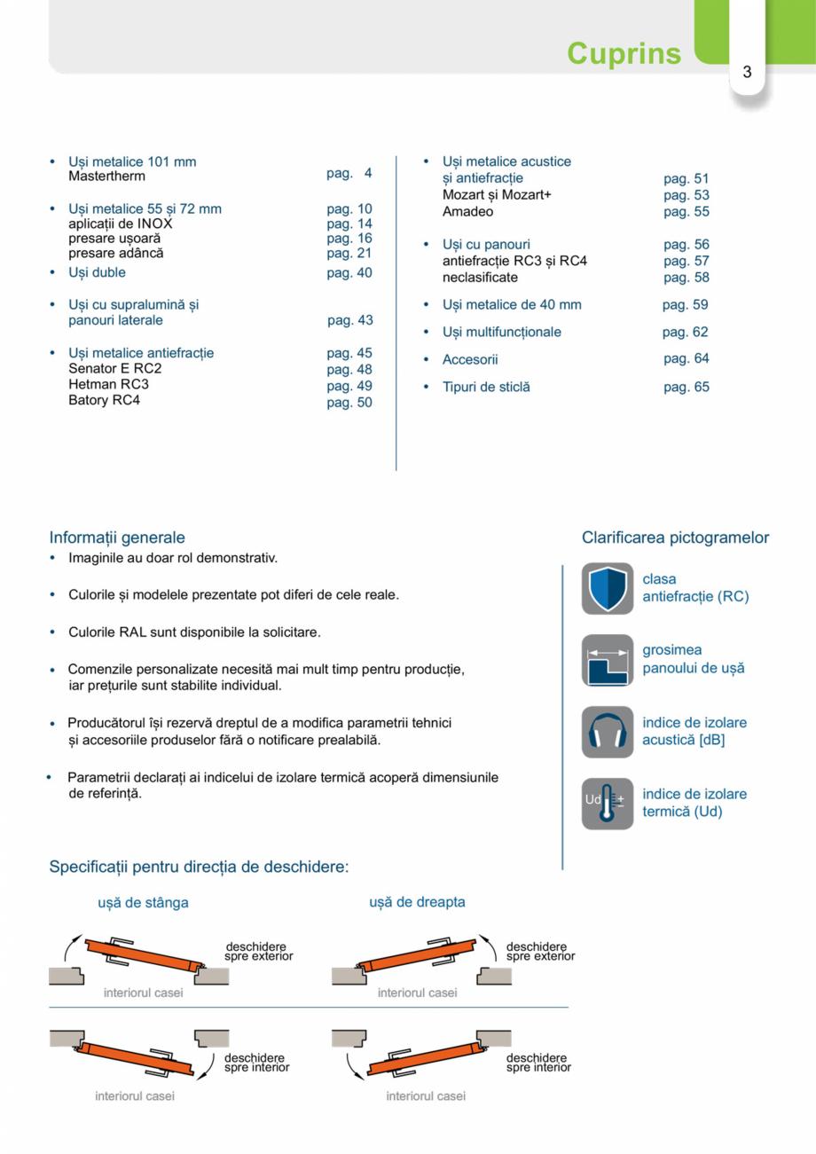 Pagina 2 - Catalog usi metalice pentru exterior Panoramika Mastertherm, 55  mm, 72 mm, 55 mm dubla, ...