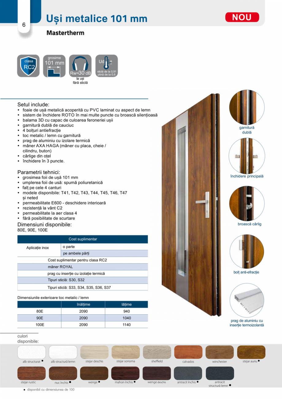 Pagina 5 - Catalog usi metalice pentru exterior Panoramika Mastertherm, 55  mm, 72 mm, 55 mm dubla, ...