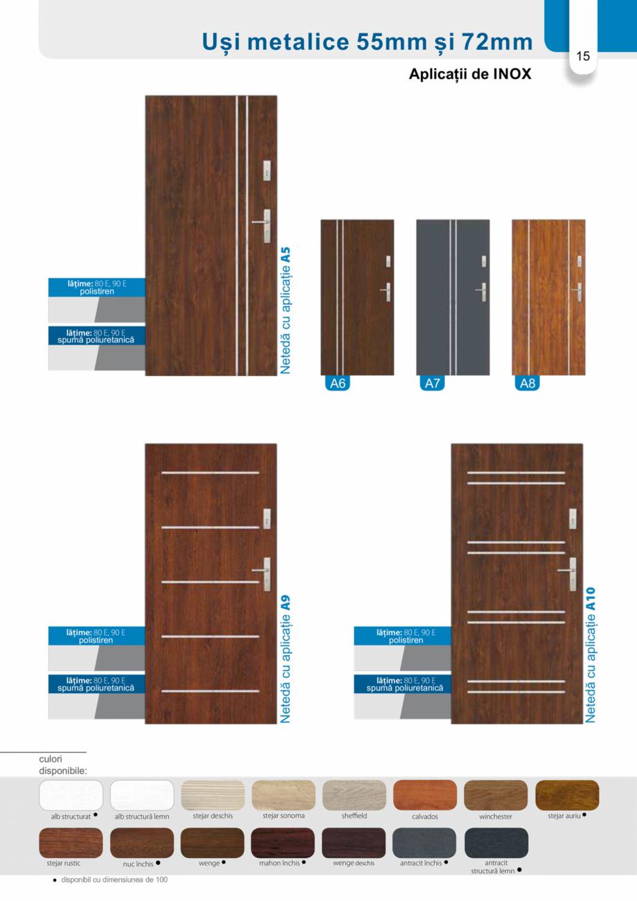 Pagina 14 - Catalog usi metalice pentru exterior Panoramika Mastertherm, 55  mm, 72 mm, 55 mm dubla,...