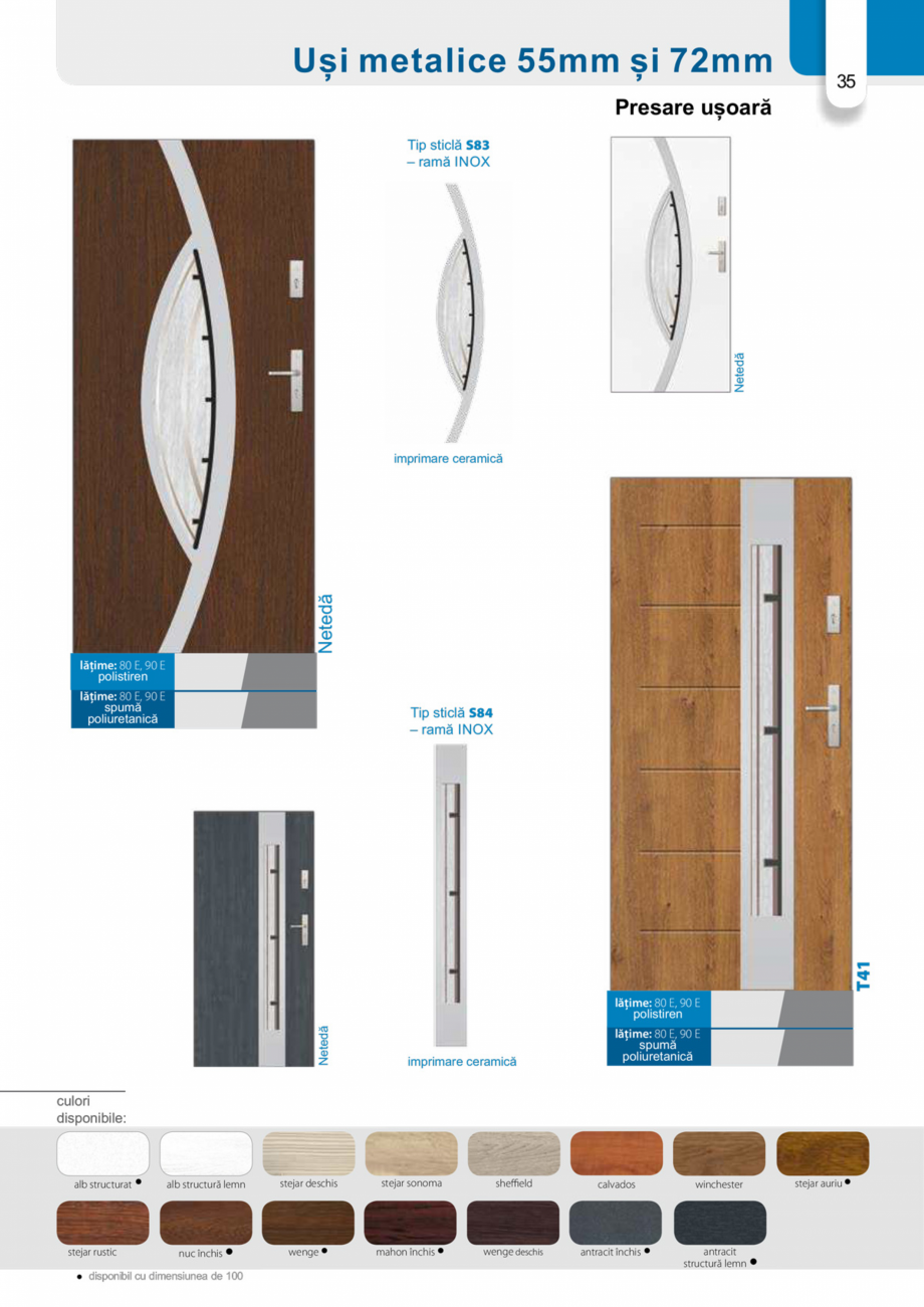 Pagina 34 - Catalog usi metalice pentru exterior Panoramika Mastertherm, 55  mm, 72 mm, 55 mm dubla,...