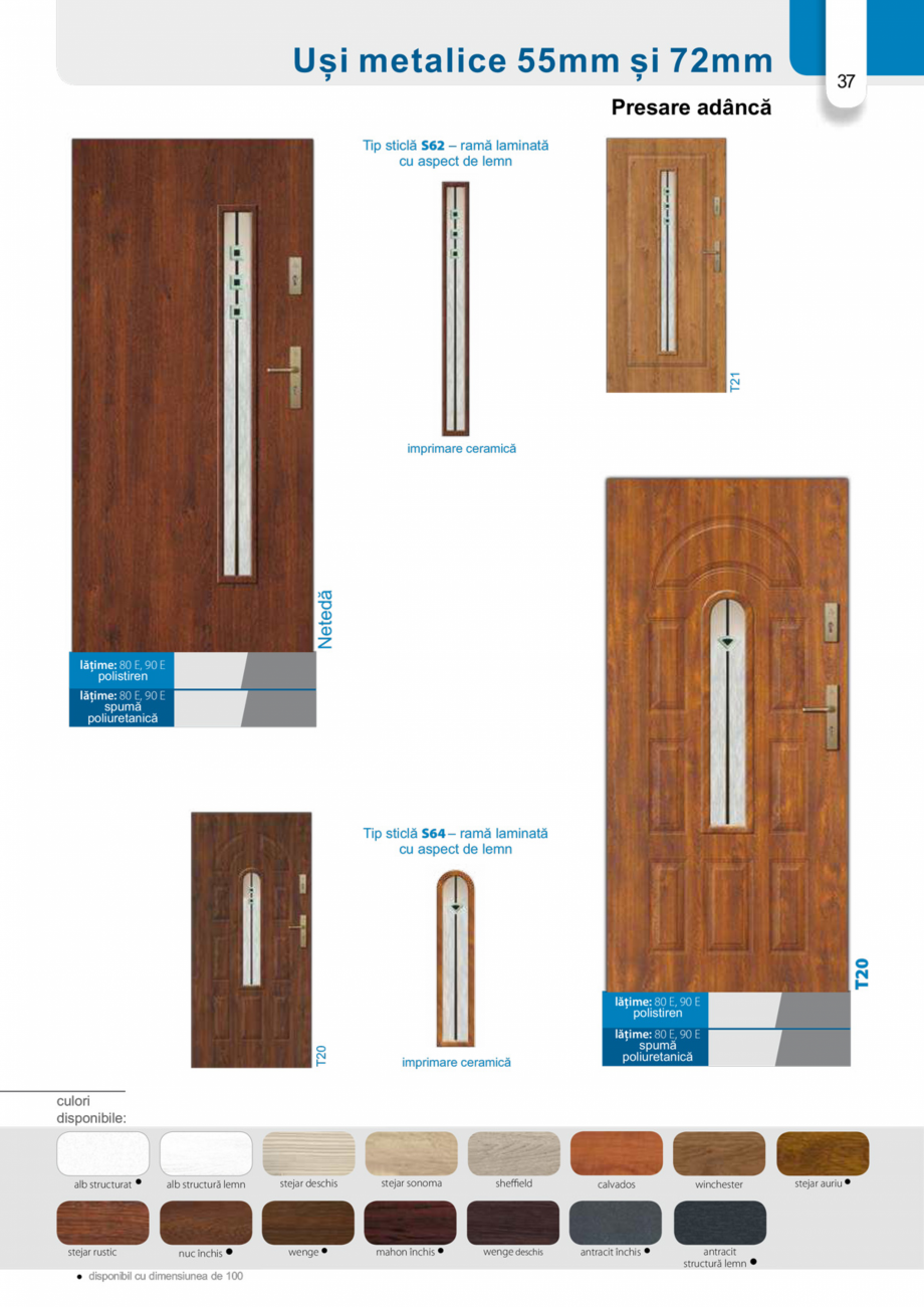 Pagina 36 - Catalog usi metalice pentru exterior Panoramika Mastertherm, 55  mm, 72 mm, 55 mm dubla,...