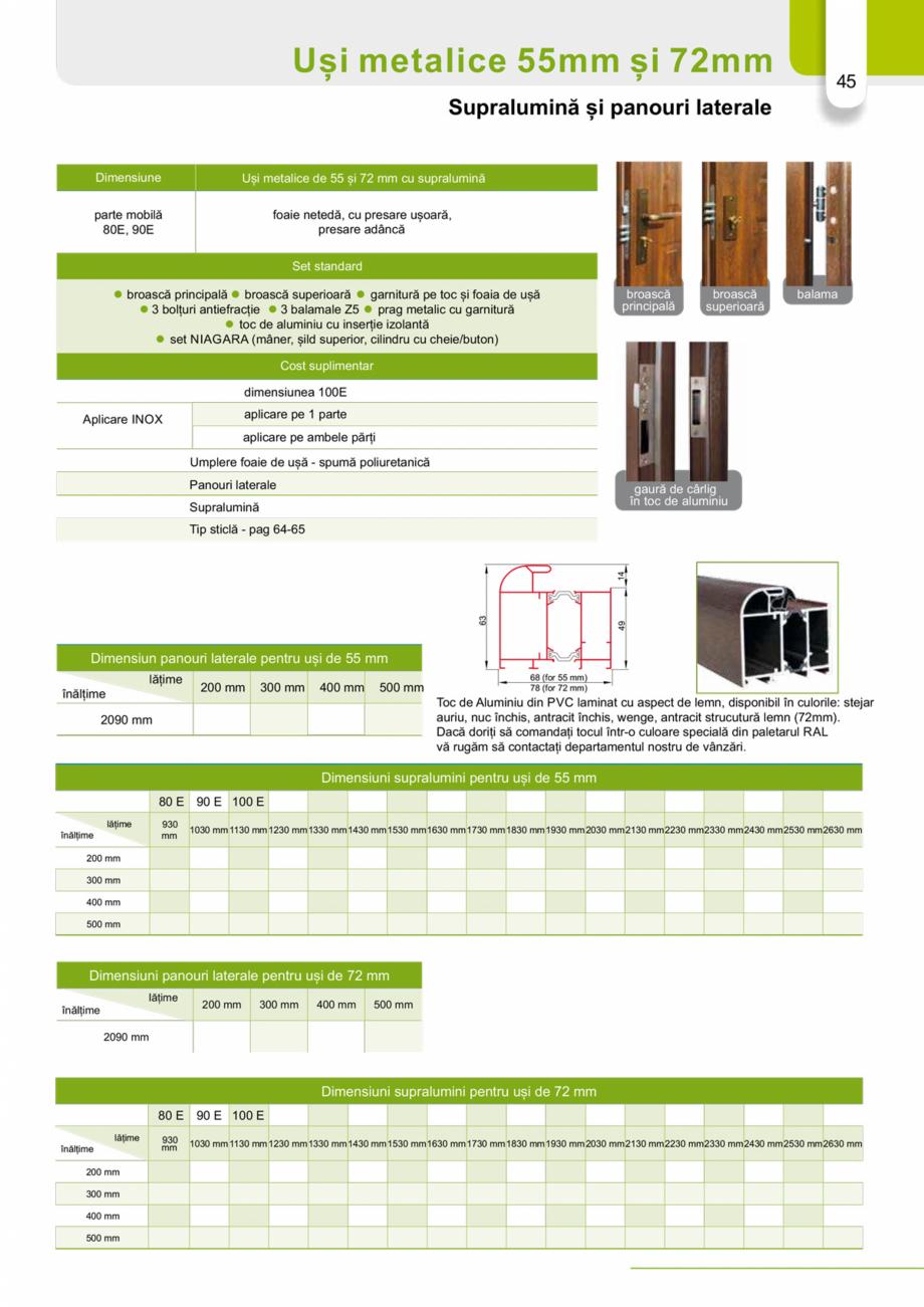 Pagina 44 - Catalog usi metalice pentru exterior Panoramika Mastertherm, 55  mm, 72 mm, 55 mm dubla,...