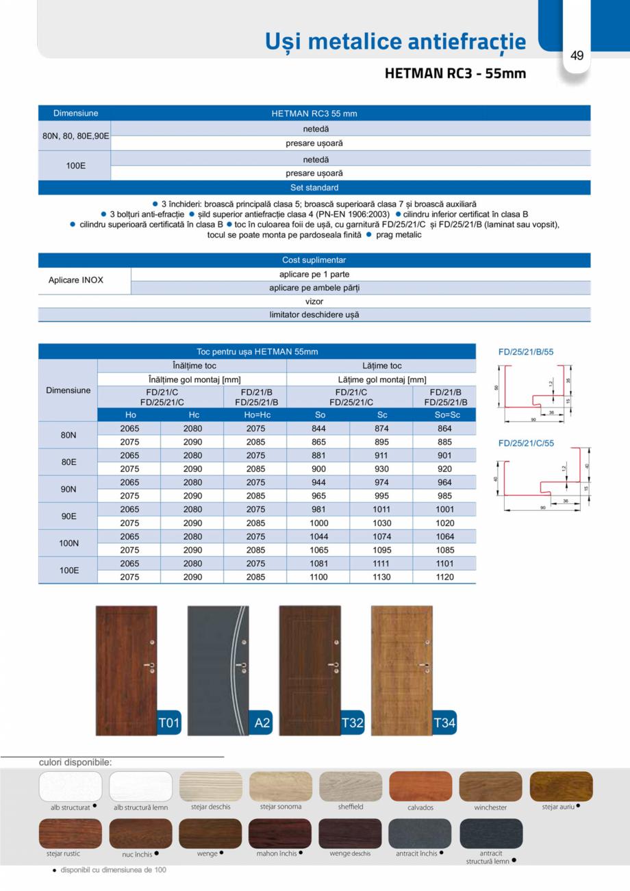 Pagina 48 - Catalog usi metalice pentru exterior Panoramika Mastertherm, 55  mm, 72 mm, 55 mm dubla,...