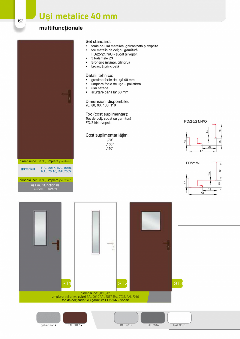 Pagina 61 - Catalog usi metalice pentru exterior Panoramika Mastertherm, 55  mm, 72 mm, 55 mm dubla,...