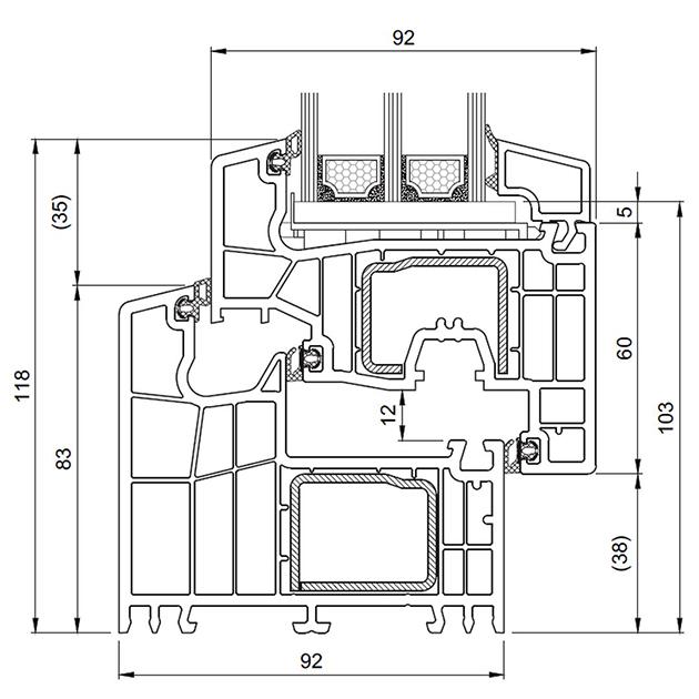 Schiță dimensiuni Profil Salamander bluEvolution 92 pentru ferestre