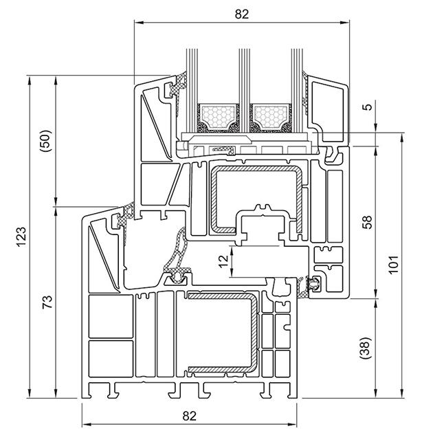 Schiță dimensiuni Profil Salamander bluEvolution 82 pentru ferestre