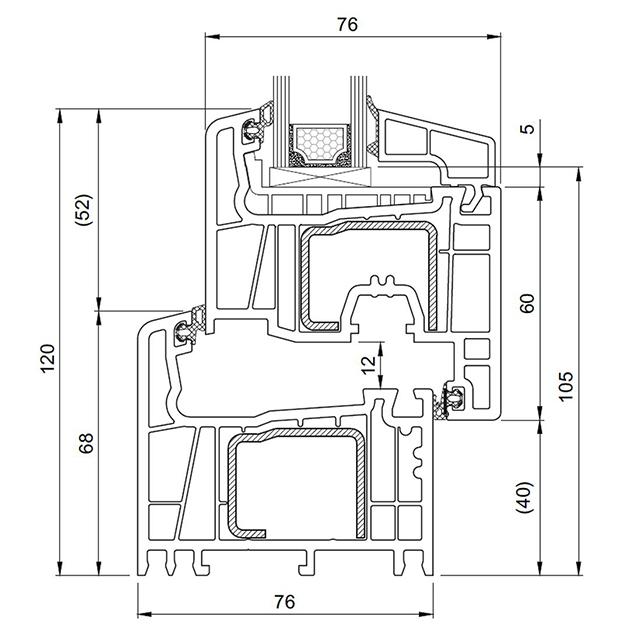 Schiță dimensiuni Profil Salamander Streamline 76+ pentru ferestre