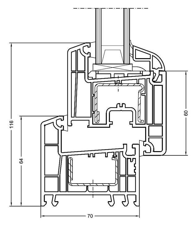 Schiță dimensiuni Profil Rehau Euro Design 70 pentru ferestre