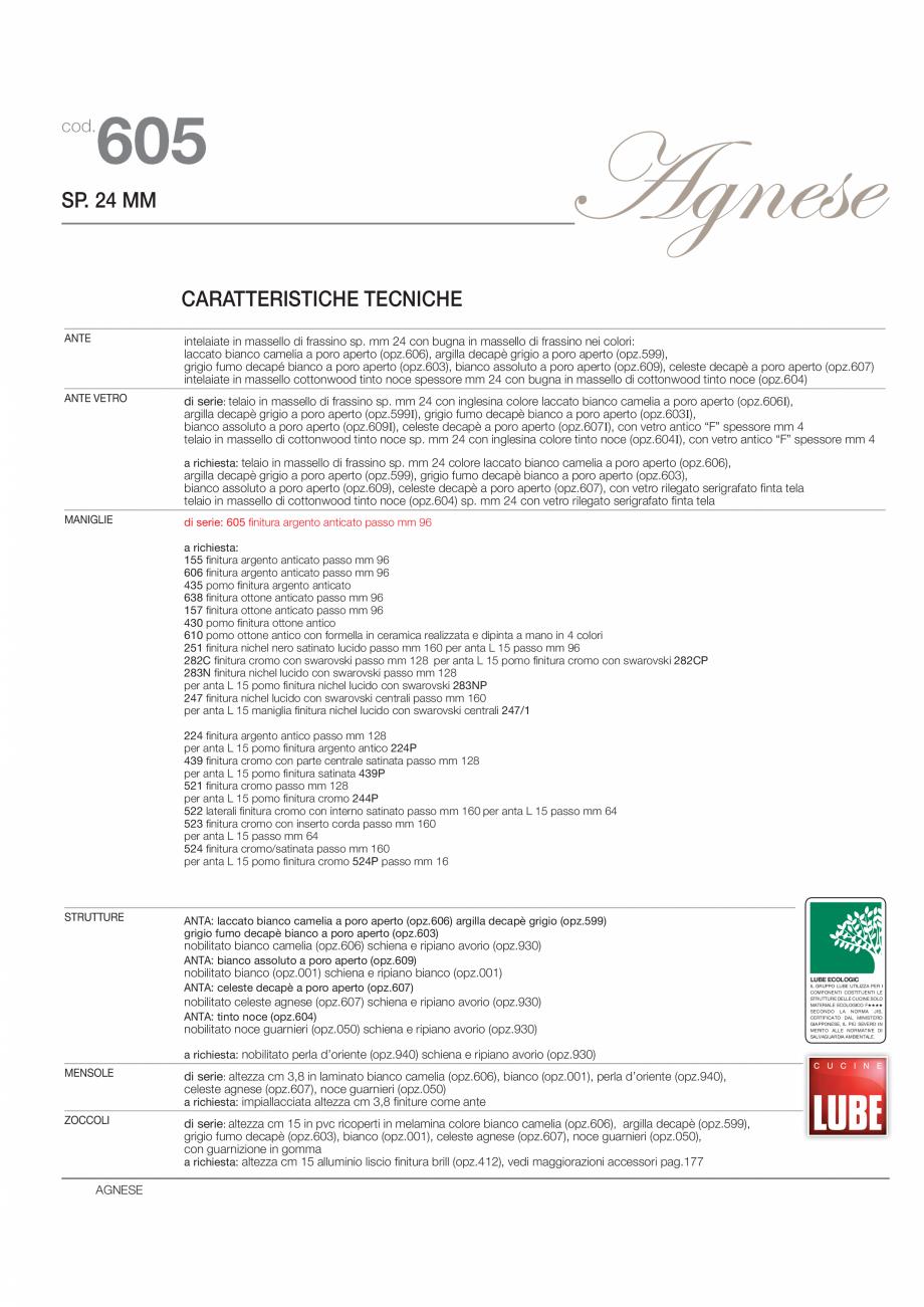 Pagina 2 - Bucataria Agnese - caracteristici tehnice MOBILA VOGUE Fisa tehnica Italiana, Engleza...