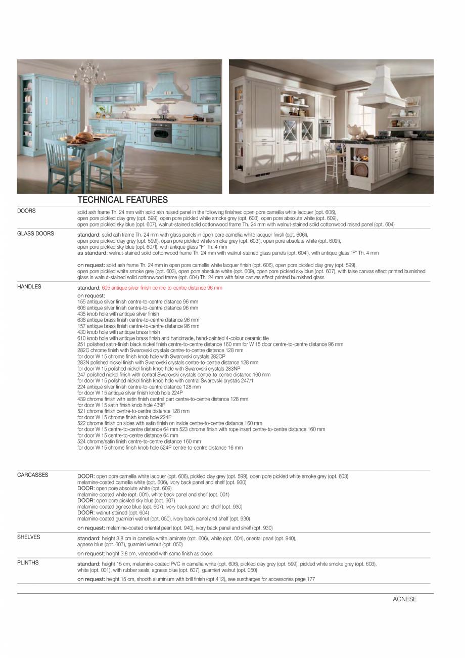 Pagina 3 - Bucataria Agnese - caracteristici tehnice MOBILA VOGUE Fisa tehnica Italiana, Engleza o...