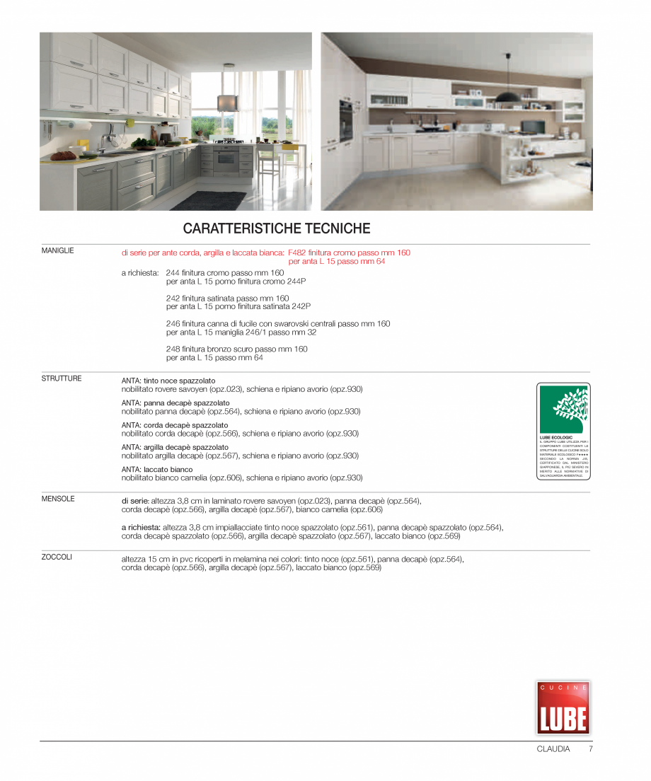 Pagina 2 - Bucataria Claudia - caracteristici tehnice MOBILA VOGUE Fisa tehnica Italiana, Engleza en...