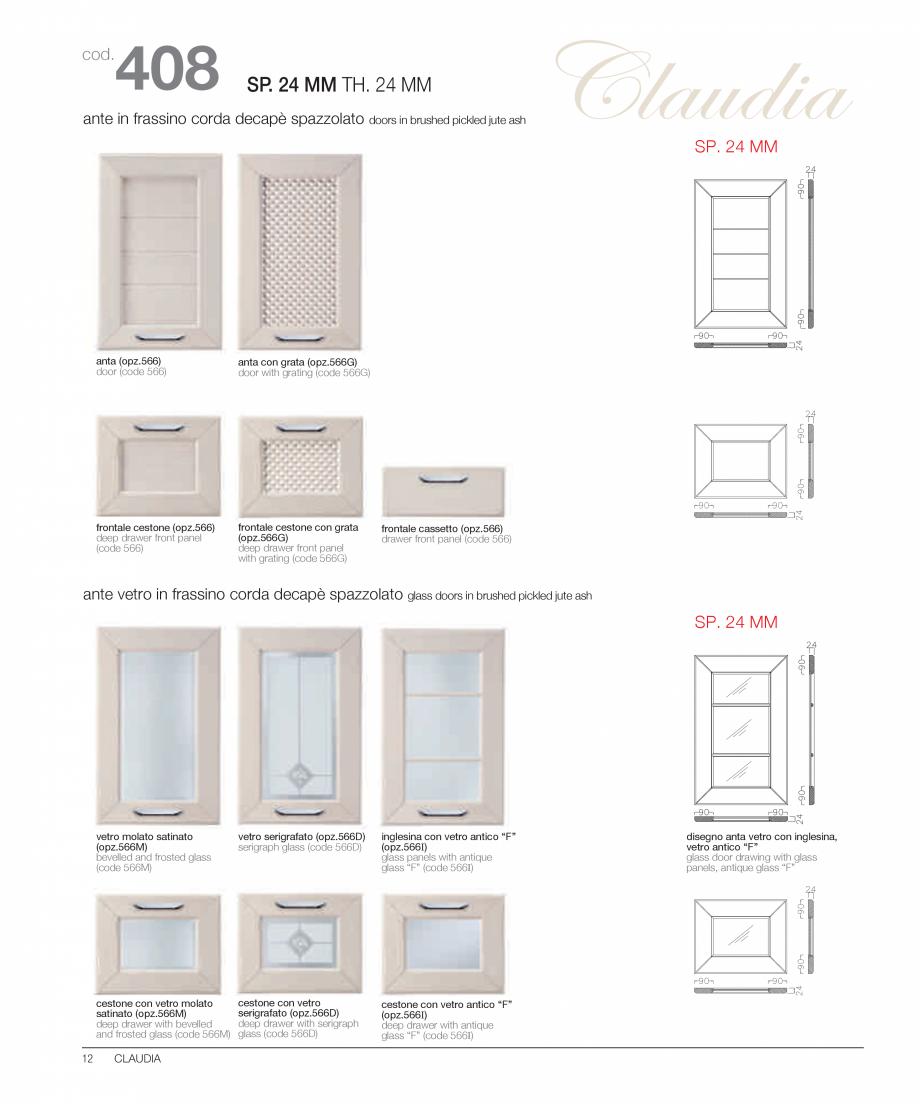 Pagina 7 - Bucataria Claudia - caracteristici tehnice MOBILA VOGUE Fisa tehnica Italiana, Engleza co...