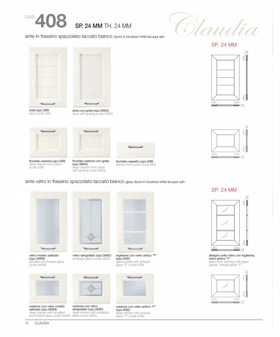 Pagina 9 - Bucataria Claudia - caracteristici tehnice MOBILA VOGUE Fisa tehnica Italiana, Engleza  A...