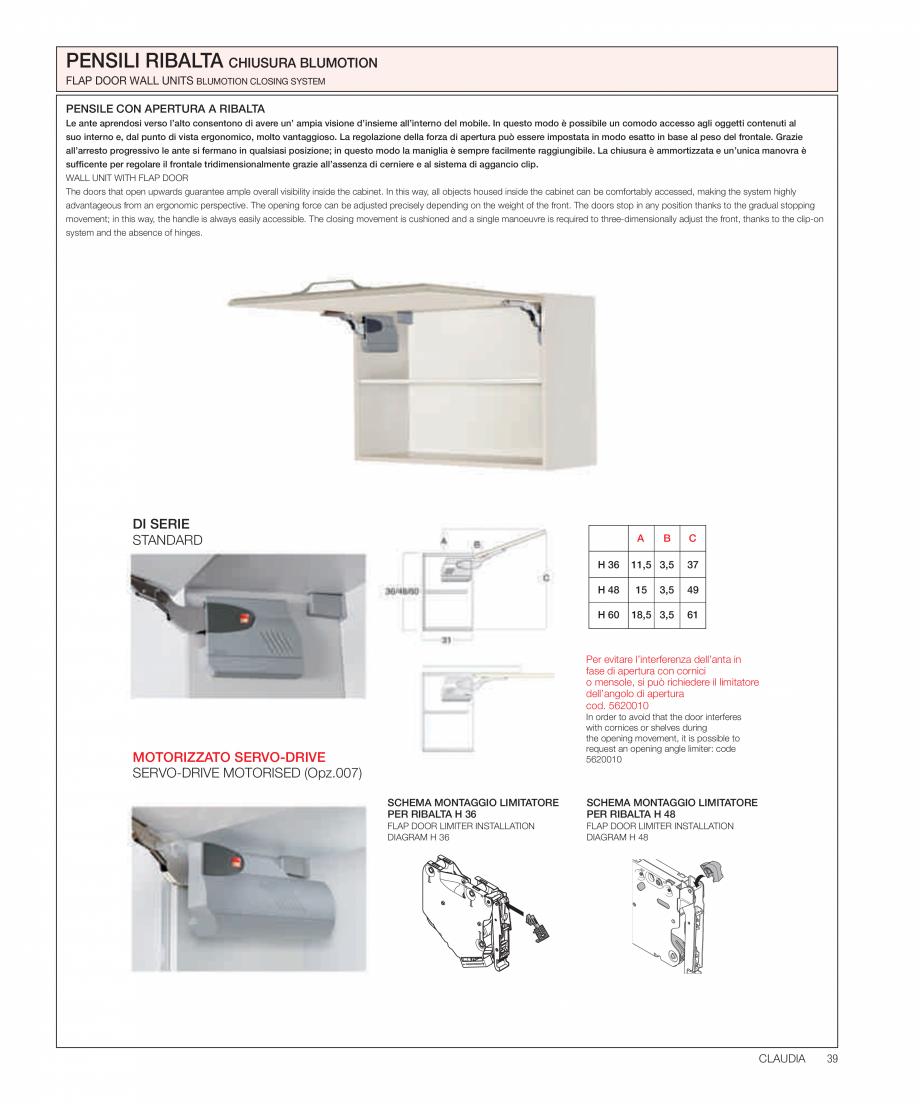 Pagina 21 - Bucataria Claudia - caracteristici tehnice MOBILA VOGUE Fisa tehnica Italiana, Engleza...