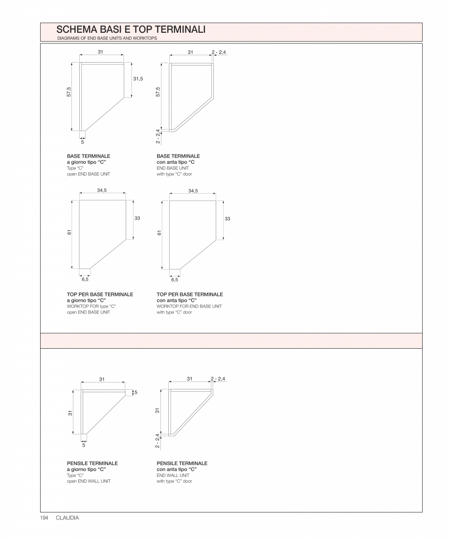 Pagina 33 - Bucataria Claudia - caracteristici tehnice MOBILA VOGUE Fisa tehnica Italiana, Engleza