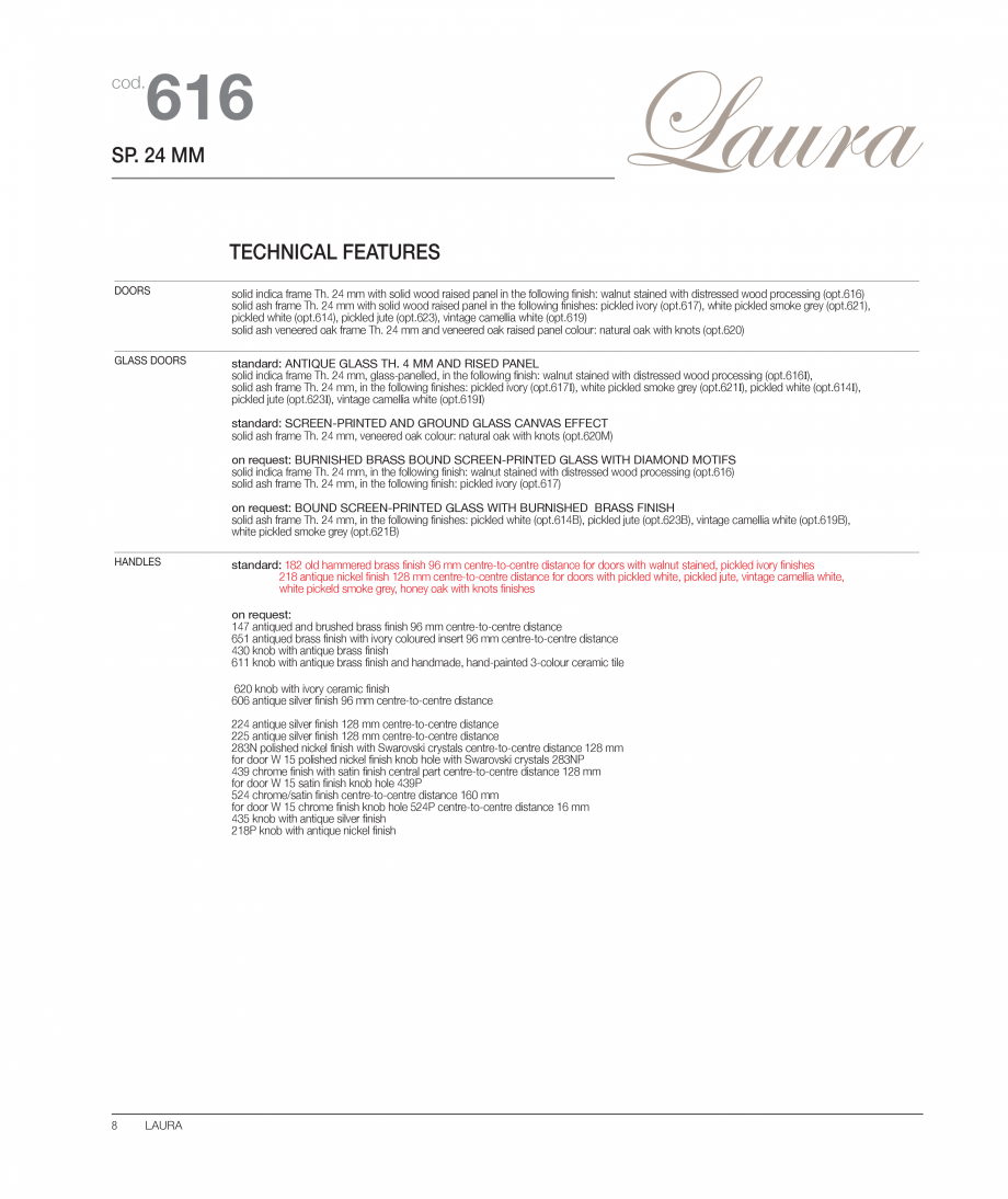 Pagina 3 - Bucataria Laura - caracteristici tehnice MOBILA VOGUE Fisa tehnica Italiana, Engleza  cod...