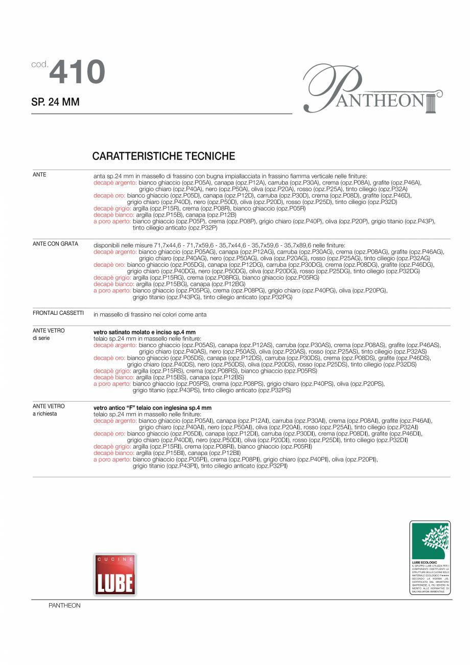 Pagina 4 - Bucataria Pantheon - caracteristici tehnice MOBILA VOGUE Fisa tehnica Italiana, Engleza...