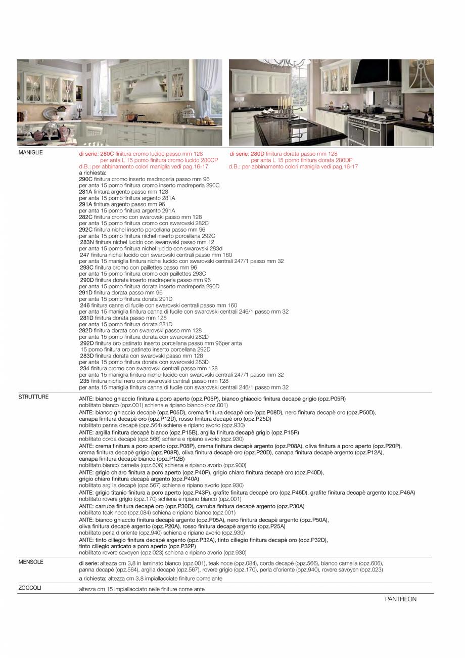 Pagina 5 - Bucataria Pantheon - caracteristici tehnice MOBILA VOGUE Fisa tehnica Italiana, Engleza  ...