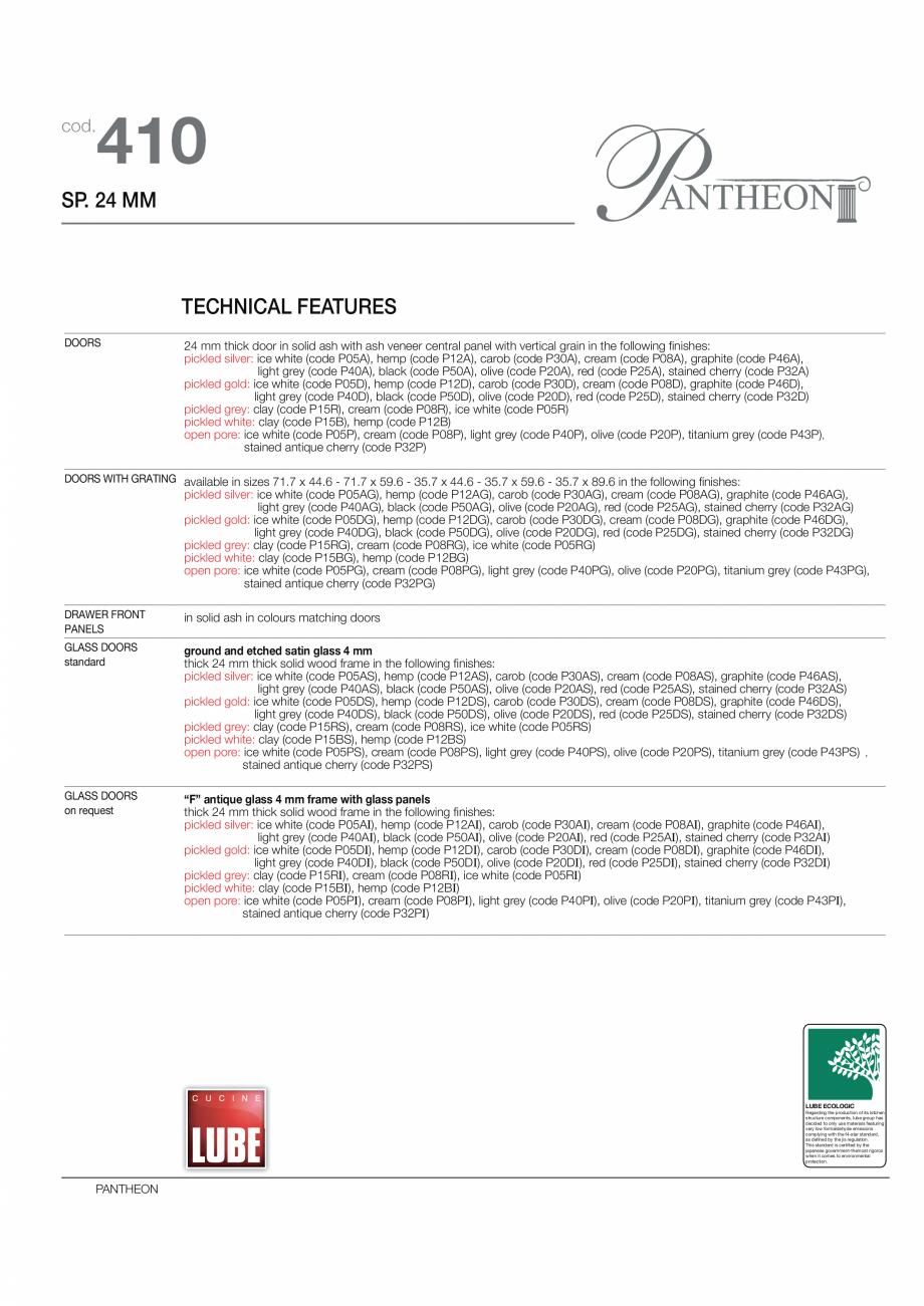 Pagina 6 - Bucataria Pantheon - caracteristici tehnice MOBILA VOGUE Fisa tehnica Italiana, Engleza...