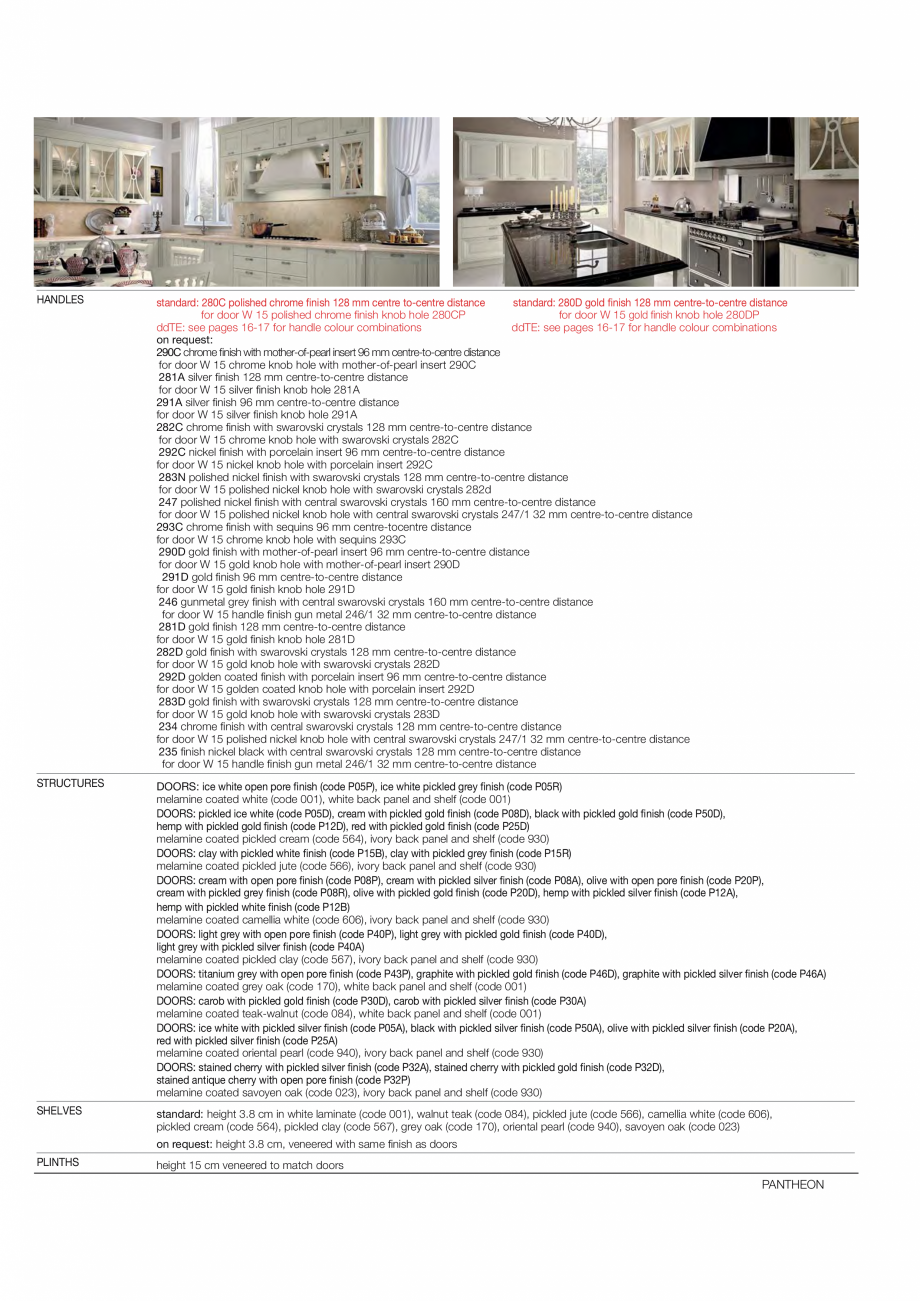 Pagina 7 - Bucataria Pantheon - caracteristici tehnice MOBILA VOGUE Fisa tehnica Italiana, Engleza...