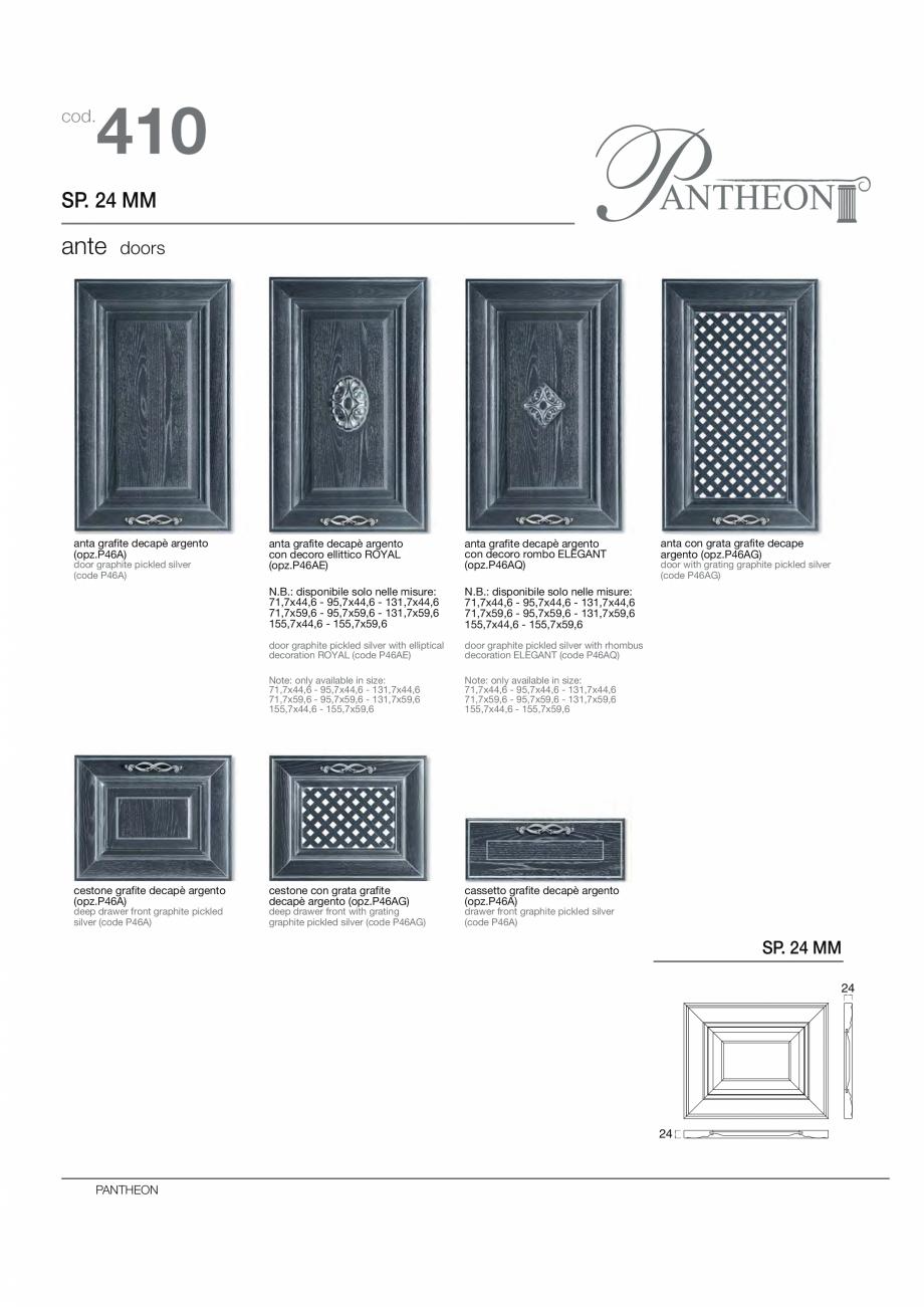 Pagina 8 - Bucataria Pantheon - caracteristici tehnice MOBILA VOGUE Fisa tehnica Italiana, Engleza...